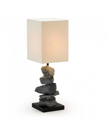 FULB Table Lamp Cross Stone Shade White  EA322FN39