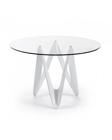 EOS Table 120*076 Fiberglass Pure White Clear Glass C030C07