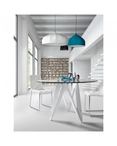 EOS Table 120*076 Fiberglass Pure White Clear Glass C030C07