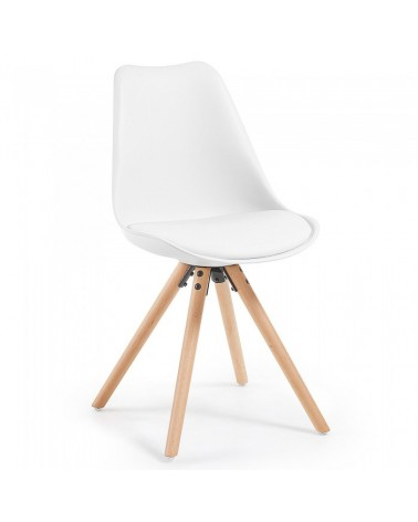 LARS Chair natural wooden legs plastic pure white EC005S05