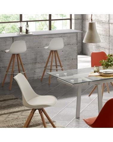 LARS Chair natural wooden legs plastic pure white EC005S05