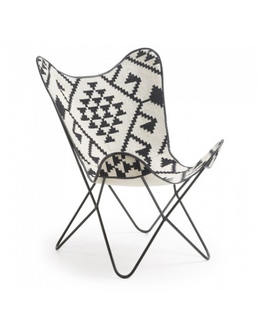 CC0352J60 FLYNN Armchair metal kilim black and white
