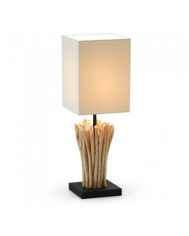EA323FN39 POOB TABLE LAMP TROPICAL WOOD SHADE WHITE FN39