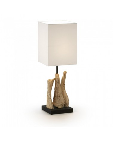 EA324FN39 RELTUB TABLE LAMP TROPICAL WOOD SHADE WHITE FN39