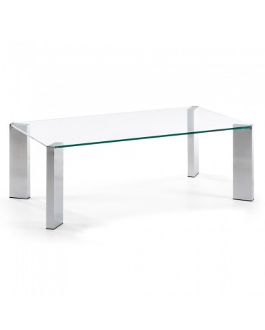 C363C07 CORNER COFFEE TABLE 110X60 CHROMED CLEAR GLASS