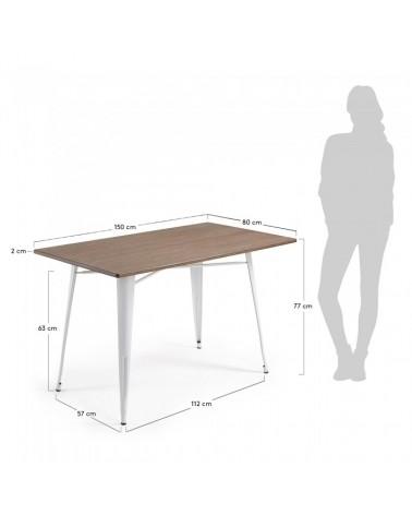 CC0257R05 MALIBU Table 150x80 metal white bamboo