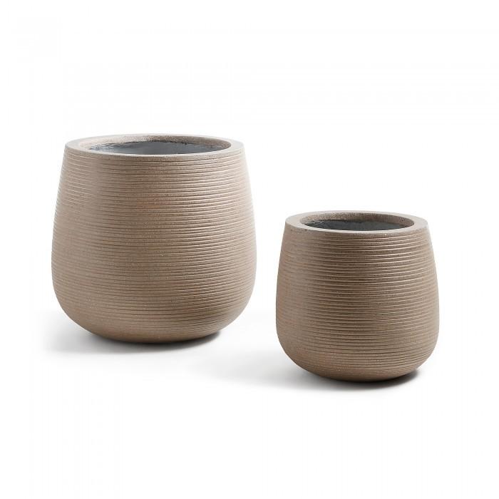 AA1134RF10 LIS Set 2 planters cement brown