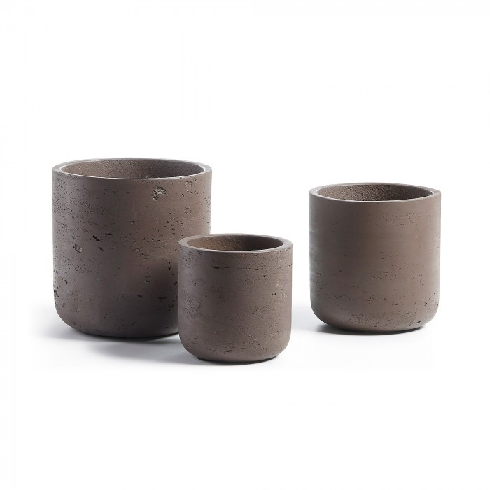 AA1154RF09 LUX Set 3 planters cement dark brown