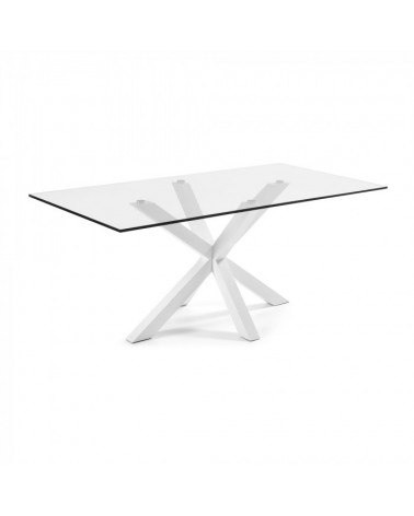 C360C07 ARYA Table 200x100 White, Clear Glass