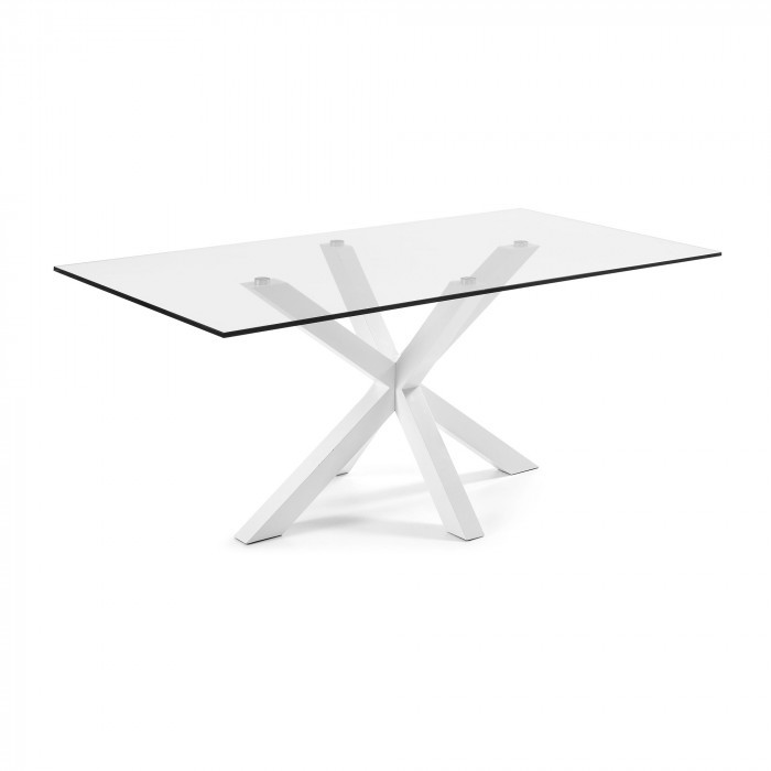 C360C07 ARYA Table 200x100 White, Clear Glass