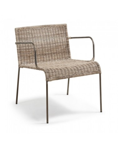 CC0075FN46 CLIFFY Armchair metal legs, rattan