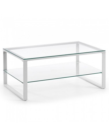 C348C07 NAVIS Coffee Table 55x90 white epoxy clear glass