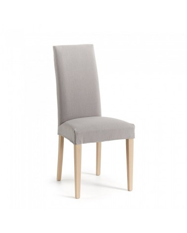 CC0516BU14 FREIA Chair natural wood, fabric light grey
