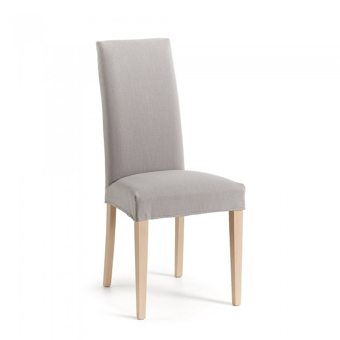 CC0516BU14 FREIA Chair natural wood, fabric light grey