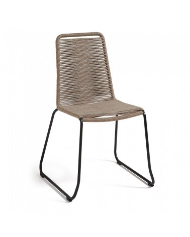 C835S12 MEAGAN Chair metal grey rope beige