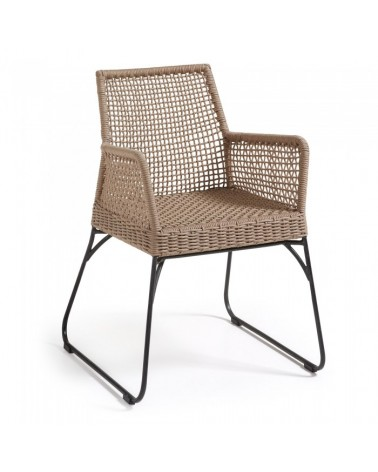 C926S12 NOVAK Armchair metal frame grey rope beige