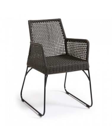 C926S15 NOVAK Armchair metal frame grey rope dark grey