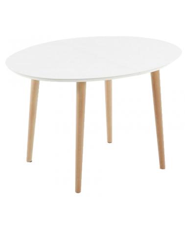EC305L33 OAKLAND Oval table 120(200)x90 natural, lac matt white