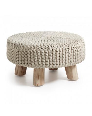 AA0103J33 STORM Footrest eucalyptus wood cotton white