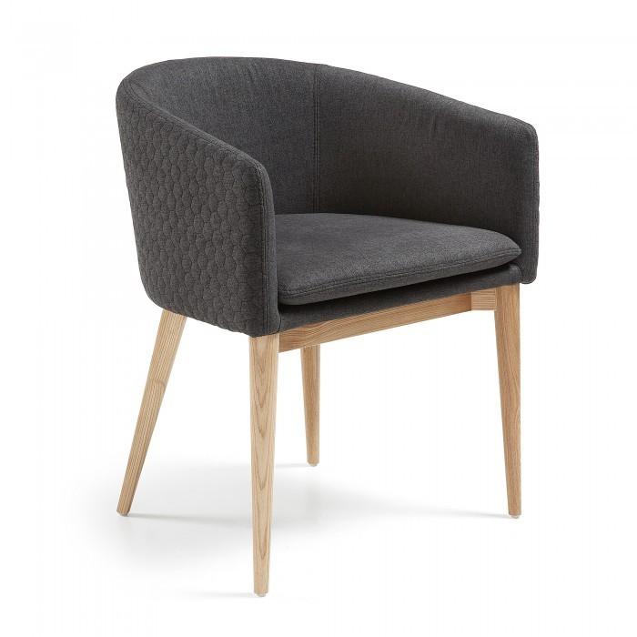 CC0078JQ15 HARMON Armchair natural wood quilted fabric dark grey