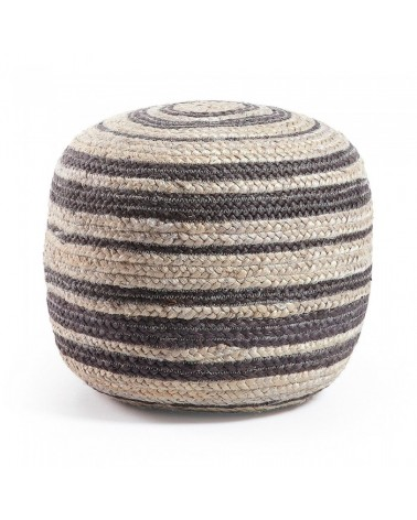 AA1090FN01 SAMY Pouf jute round 40x45 light grey and black