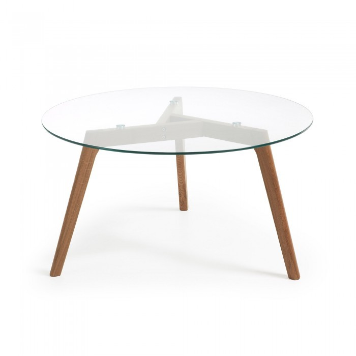 C605C07 BRICK Coffee table 90 natural wood glass