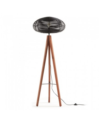 AA0711M47 LAWTON Floor lamp wood, black rattan shade