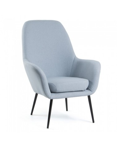 CC0023J27 VALERIA Armchair metal black fabric light blue