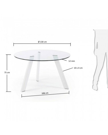 C080C07 COLUMBIA Table 130 epoxy white Glass Clear