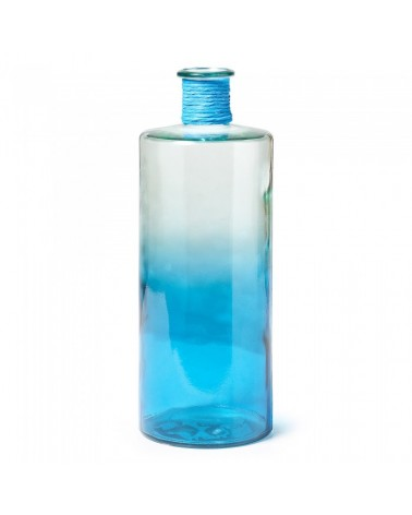 AA0074C26 SINCLAIR Vase 42cm Two-tone Clear Glass/Blue