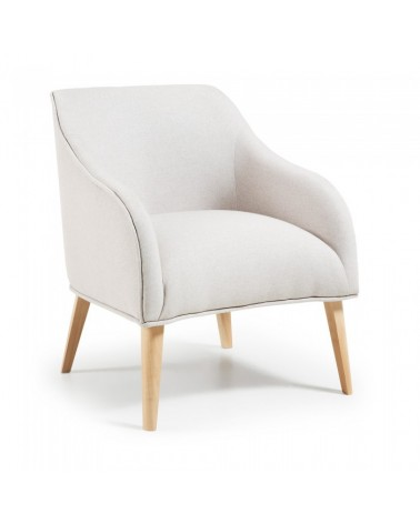 S330VA12 LOBBY Armchair natural wood fabric beige