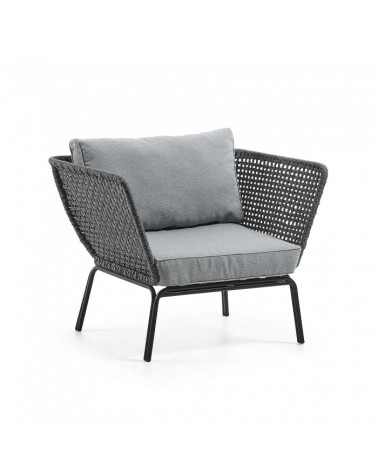 S498J14 BERNIE Armchair metal grey rope grey