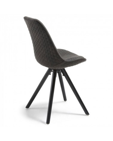 CC0224CWQ02 LARS Chair black wood quilted fabric graphite