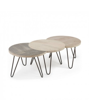 AA0894M46 HOSS Set 3 coffee tables metal mango wood