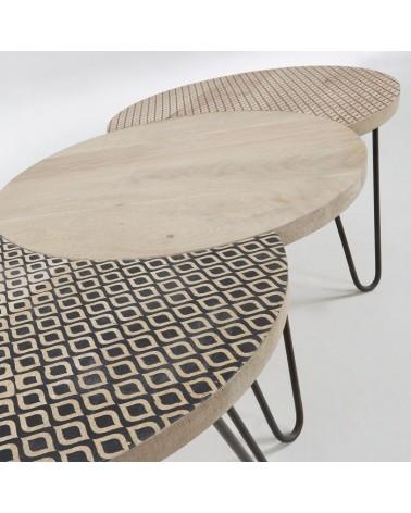 AA0894M46 HOSS Set 3 coffee tables metal mango wood