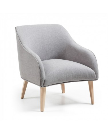 S330VA03 LOBBY Armchair natural wood fabric grey