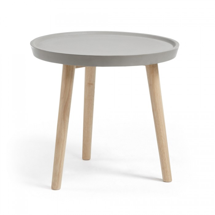 AA1162RF03 LIVY Side table rubber wood cement grey