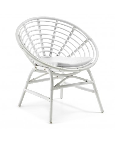C479J33 XET Armchair Rattan white Cushion Fabric white