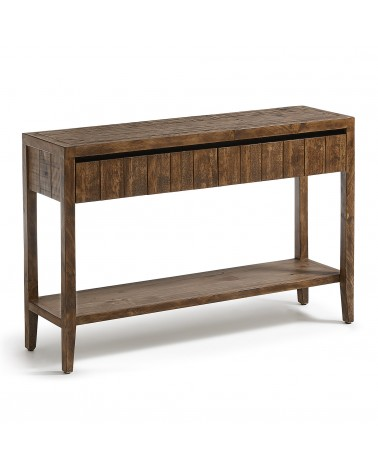 WD004M09 WOODY Console table 120x78 2d pine wood dark brown