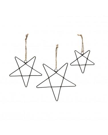 AA1635R01 STELL Set 3 ornaments metal black