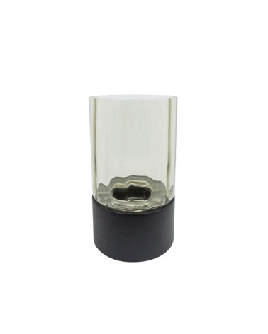 T4-W1/BLA tealight grey glass & black wooden bottom S