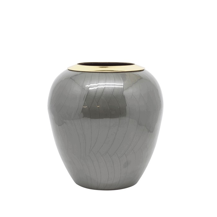 V2-S90/GRI vase iron with enamel and gold ring