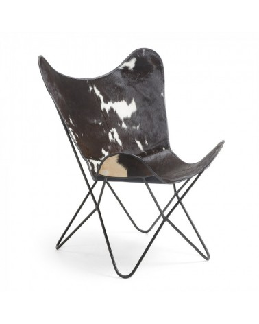 CC0352P60 FLYNN Armchair metal black leather black and white