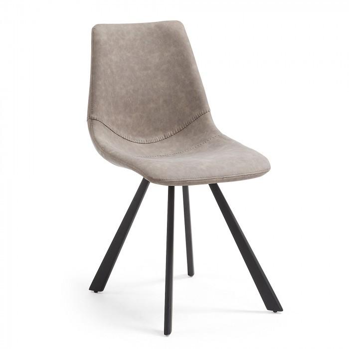 CC0252UE85 ANDI Chair metal black PU taupe