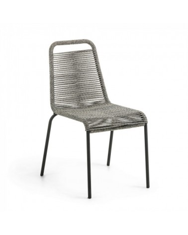 CC0901J03 GLENVILLE Chair metal black rope grey