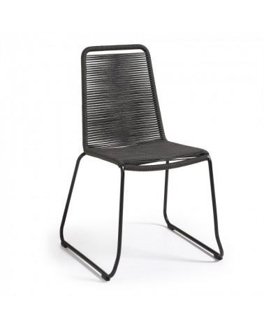 C835S15 MEAGAN Chair metal grey rope dark grey