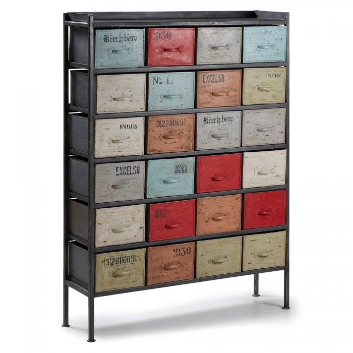 A027R35 SEYEK Chest of drawers 24 drawers iron multicolor