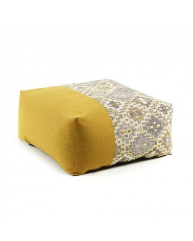 AA2273TO81 CUZCO Pouf 70x70 fabric combination mustard