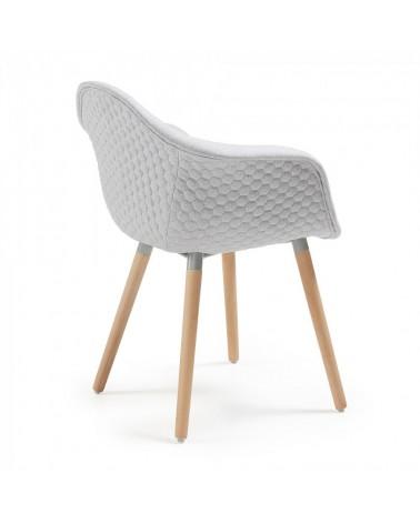 C631jq14 Kenna Armchair Natural Wood Fabric Light Grey