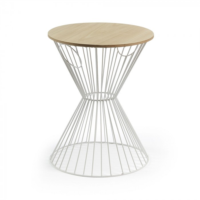 AA1724R05 TOLHAN Side table metal white mdf natural